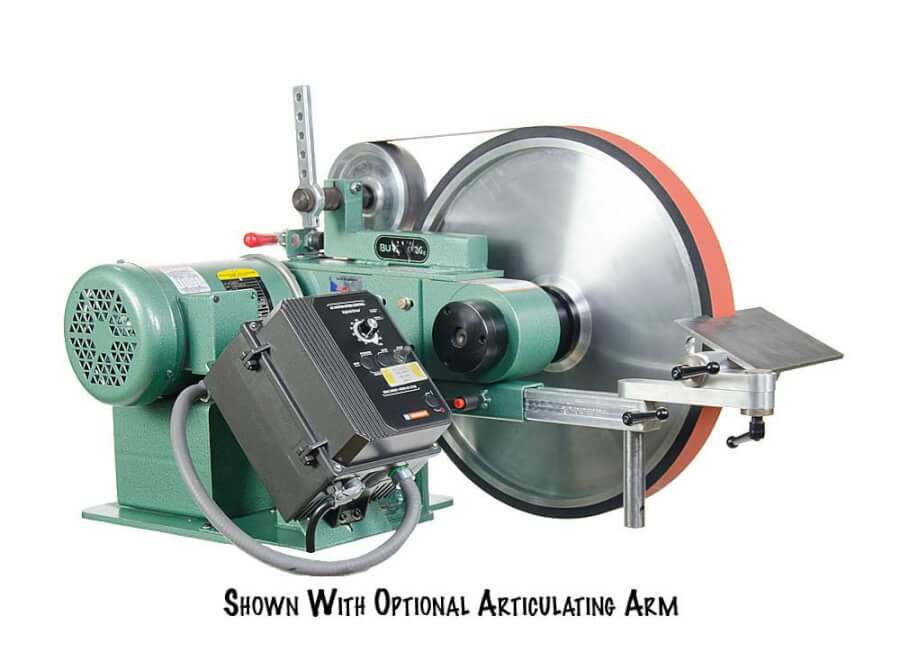 BBA20 Belt Grinder 1.5 HP Variable Speed 2″ x 72″ featuring a 20″ diameter contact wheel