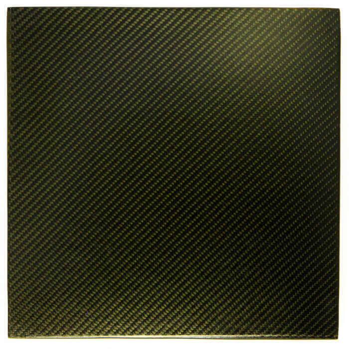 """12"""" x 12"""" x .187"""" Black 2x2 Twill Carbon Fiber"""
